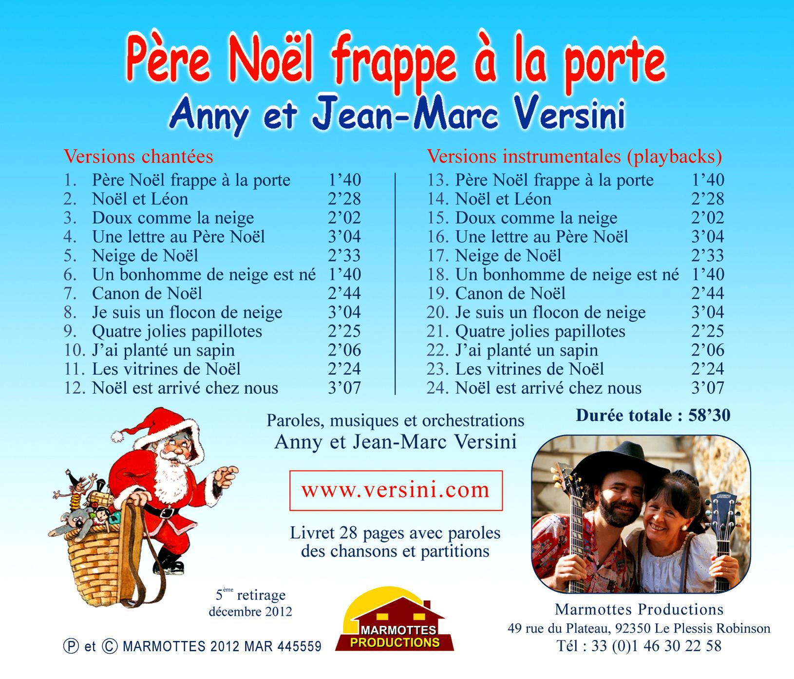 Père Noël frappe à la porte (CD) - A et J-M Versini - Marmottes ... 2d0153f584a